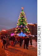 Купить «Новогодняя елка в Парке Победы в Москве вечером», эксклюзивное фото № 19242781, снято 6 января 2016 г. (c) lana1501 / Фотобанк Лори