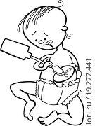 Купить «baby boy destroying the clock for coloring book», фото № 19277441, снято 4 июля 2020 г. (c) easy Fotostock / Фотобанк Лори