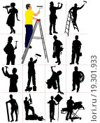 Workers silhouettes. Man and woman. Vector illustration. Стоковое фото, фотограф leonido / easy Fotostock / Фотобанк Лори