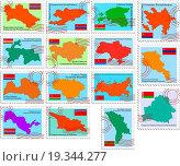 Купить «set of the stamps with republics of the USSR», фото № 19344277, снято 22 июля 2019 г. (c) easy Fotostock / Фотобанк Лори