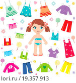 Купить «Paper doll with clothes set», фото № 19357913, снято 4 августа 2019 г. (c) easy Fotostock / Фотобанк Лори