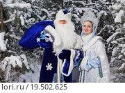 Дед Мороз с мешком в руке и Снегурочка стоят на фоне заснеженных деревьев. Стоковое фото, фотограф Дмитрий Черевко / Фотобанк Лори