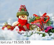 Купить «Merry Christmas postcard with a snowman in the snow», фото № 19505189, снято 19 марта 2019 г. (c) PantherMedia / Фотобанк Лори