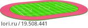 Купить «3d Football soccer field pitch vector with racetrack», фото № 19508441, снято 18 февраля 2019 г. (c) easy Fotostock / Фотобанк Лори