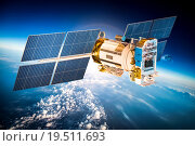 Купить «Space satellite over the planet earth», фото № 19511693, снято 9 февраля 2013 г. (c) Андрей Армягов / Фотобанк Лори