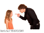 Angry father pointing finger at his child. Стоковое фото, фотограф Zoonar/M.Doupal / easy Fotostock / Фотобанк Лори