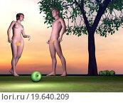 Купить «Adam and Eve - 3D render», иллюстрация № 19640209 (c) easy Fotostock / Фотобанк Лори
