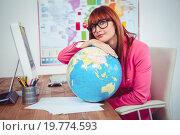 Купить «Hipster businesswoman lean on a globe», фото № 19774593, снято 5 июня 2015 г. (c) Wavebreak Media / Фотобанк Лори