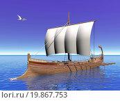 Greek boat - 3D render. Стоковое фото, фотограф Zoonar/Elena Duverna / easy Fotostock / Фотобанк Лори