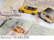 Купить «Travel symbols and ID documents», фото № 19943005, снято 21 августа 2019 г. (c) easy Fotostock / Фотобанк Лори