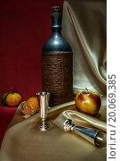 Натюрморт с бутылкой, мандаринами, яблоком и серебряными рюмками. Стоковое фото, фотограф Алексей Грим / Фотобанк Лори