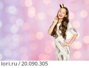 Купить «happy young woman or girl in party dress and crown», фото № 20090305, снято 31 октября 2015 г. (c) Syda Productions / Фотобанк Лори