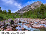 Купить «Небольшая горная река в Восточной Сибири», фото № 20093329, снято 6 июля 2015 г. (c) Виктор Никитин / Фотобанк Лори