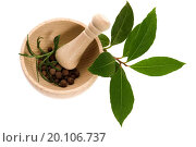 Купить «Mortar with fresh herbs and allspice berries», фото № 20106737, снято 9 февраля 2010 г. (c) easy Fotostock / Фотобанк Лори
