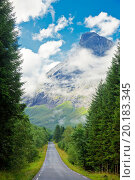 Купить «Scenic one lane asphalt road in Norway», фото № 20183345, снято 7 августа 2011 г. (c) easy Fotostock / Фотобанк Лори
