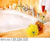 Купить «Home bathroom interior with bubble bath.», фото № 20226325, снято 10 декабря 2012 г. (c) easy Fotostock / Фотобанк Лори