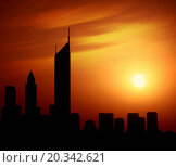 Купить «Dubai city at night Sheikh Zayed road at sunset, silhouette of modern new Middle Eastern city, black shape of buildings with natural sun light background, United Arab Emirates», фото № 20342621, снято 27 апреля 2007 г. (c) easy Fotostock / Фотобанк Лори