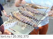 Купить «Closeup of four baked fish on the grill and tray», фото № 20392373, снято 1 мая 2014 г. (c) Losevsky Pavel / Фотобанк Лори
