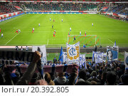 Купить «MOSCOW, RUSSIA - NOV 02, 2014: Grandstand with Dinamo fans which raise banners and play-field at stadium Locomotive during game.», фото № 20392805, снято 2 ноября 2014 г. (c) Losevsky Pavel / Фотобанк Лори