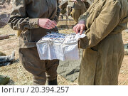 Купить «two soldiers in uniform with medical instruments», фото № 20394257, снято 12 июля 2014 г. (c) Losevsky Pavel / Фотобанк Лори