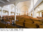 Купить «MOSCOW - JUNE 9, 2014: pews, altar and stained glass windows under the vault of Cathedral of St. Peter and Paul», фото № 20396113, снято 9 июня 2014 г. (c) Losevsky Pavel / Фотобанк Лори