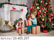 Купить «Little boy sits on big cardboard gift box, holding another one in his hands near decorated Christmas tree, little girl tries to take box», фото № 20405297, снято 26 декабря 2013 г. (c) Losevsky Pavel / Фотобанк Лори