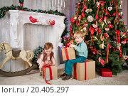 Купить «Little boy sits on big cardboard gift box, holding another one in his hands near decorated Christmas tree, little girl tries to take box», фото № 20405297, снято 26 декабря 2013 г. (c) Losevsky Pavel / Фотобанк Лори