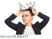 Купить «Young beautiful woman trying on crown of barbed wire fence», фото № 20408617, снято 7 июня 2014 г. (c) Losevsky Pavel / Фотобанк Лори