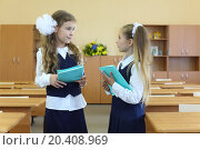 Купить «Two happy girls in uniform stand in classroom with exercise books and talk at school.», фото № 20408969, снято 17 августа 2013 г. (c) Losevsky Pavel / Фотобанк Лори