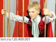 Купить «Boy in red cloak breaks free from golden cage», фото № 20409001, снято 19 апреля 2014 г. (c) Losevsky Pavel / Фотобанк Лори