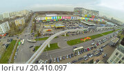 Купить «District with crossroads of highways and railway with electric train near the telecentre, view from unmanned quadrocopter.», фото № 20410097, снято 23 октября 2013 г. (c) Losevsky Pavel / Фотобанк Лори