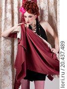 Купить «Closeup portrait of beautiful fashion woman posing with silck fabric.», фото № 20437489, снято 14 апреля 2010 г. (c) easy Fotostock / Фотобанк Лори