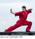 Купить «Shaolin warriors wushoo man in red practice martial art outdoor. Kung fu», фото № 20526125, снято 10 августа 2011 г. (c) easy Fotostock / Фотобанк Лори