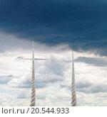 Купить «two ropes rise to sky with rainy clouds», фото № 20544933, снято 9 июля 2020 г. (c) easy Fotostock / Фотобанк Лори