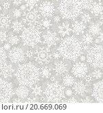 Купить «Бесшовный новогодний фон со снежинками», иллюстрация № 20669069 (c) Владимир / Фотобанк Лори