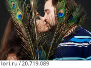 Купить «Мужчина и женщина целуются за павлиньими перьями», фото № 20719089, снято 23 января 2015 г. (c) Евгений Майнагашев / Фотобанк Лори