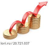 Купить «Красная стрелка и диаграмма из золотых монет», иллюстрация № 20721037 (c) Маринченко Александр / Фотобанк Лори