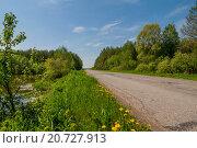 Пустынная дорога. Стоковое фото, фотограф Сергей Коровин / Фотобанк Лори