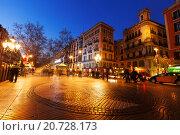 Купить «Night view of Rambla in Barcelona», фото № 20728173, снято 13 марта 2014 г. (c) Яков Филимонов / Фотобанк Лори