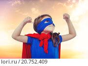 Купить «Composite image of masked girl pretending to be superhero», фото № 20752409, снято 21 июля 2019 г. (c) Wavebreak Media / Фотобанк Лори