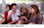 Купить «Happy friends toasting with cocktails ad wine», видеоролик № 20794233, снято 15 августа 2018 г. (c) Wavebreak Media / Фотобанк Лори