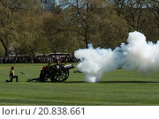 Купить «King's troop royal horse artillery stage a 41 Gun salute to honour the 89th birthday of the Queen in Hyde Park Featuring: King's troop Royal horse Artillery...», фото № 20838661, снято 21 апреля 2015 г. (c) age Fotostock / Фотобанк Лори