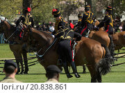 Купить «King's troop royal horse artillery stage a 41 Gun salute to honour the 89th birthday of the Queen in Hyde Park Featuring: King's troop Royal horse Artillery...», фото № 20838861, снято 21 апреля 2015 г. (c) age Fotostock / Фотобанк Лори