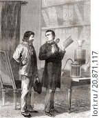 "Купить «Moritz von Jacobi, on the right, discovering galvanoplastics, or electrotyping in 1838. Moritz Hermann (Boris Semyonovich) von Jacobi, 1801 â. "" 1874....», фото № 20871117, снято 19 марта 2019 г. (c) age Fotostock / Фотобанк Лори"