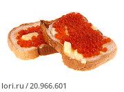 Купить «Бутерброды с красной икрой, изолированно на белом фоне», фото № 20966601, снято 31 декабря 2015 г. (c) Литвяк Игорь / Фотобанк Лори
