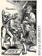 German surgeon, amputation of leg without anaesthetic, Hans van Gersdorff, 1528, ´Feldtbuch der Wundartzney´ (Field book of surgery). (2015 год). Редакционное фото, фотограф Heinz-Dieter Falkenstein / age Fotostock / Фотобанк Лори