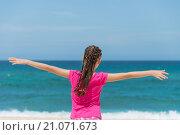 Счастливый ребенок на побережье тропические моря. Стоковое фото, фотограф Юрий Александров / Фотобанк Лори