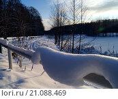 Лыжня на берегу озера. Стоковое фото, фотограф Михаил Уткин / Фотобанк Лори