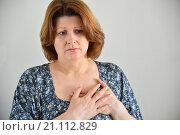 Купить «Woman with pain in chest, angina», фото № 21112829, снято 25 января 2016 г. (c) Володина Ольга / Фотобанк Лори