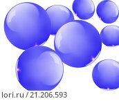 Синие стеклянные шары. Стоковая иллюстрация, иллюстратор Юлия Цигун / Фотобанк Лори